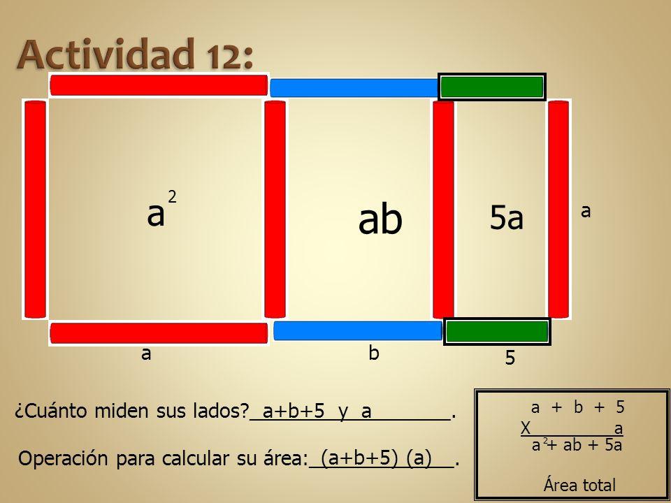 Actividad 12: a. 2. ab. 5a. a. a. b. 5. ¿Cuánto miden sus lados __________________. a+b+5 y a.