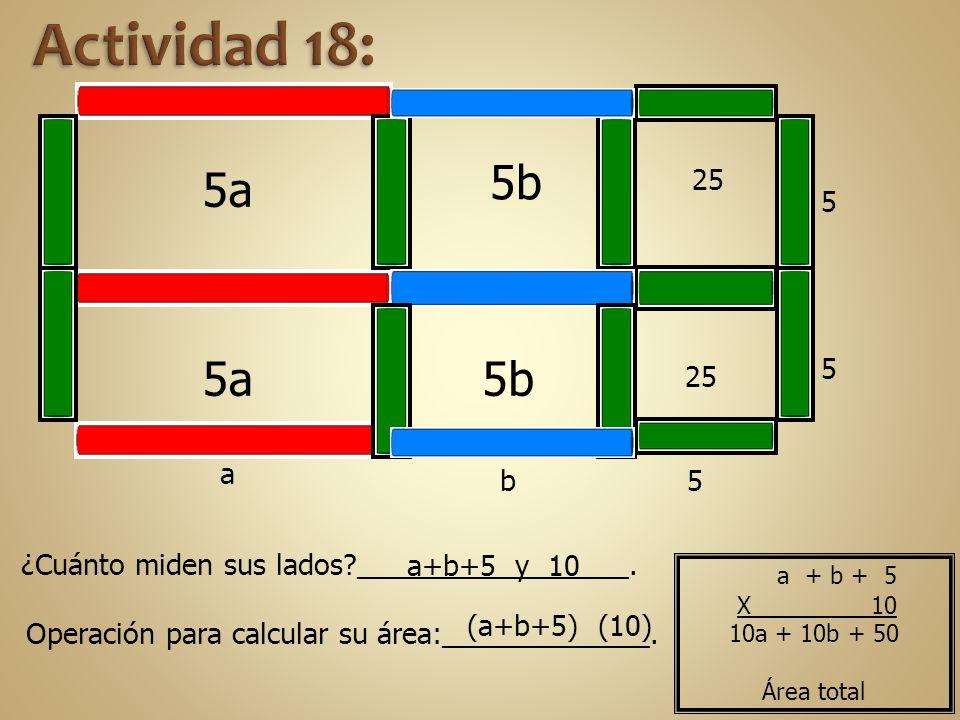 Actividad 18: 5b. 5a. 25. 5. 5a. 5b. 5. 25. a. b. 5. ¿Cuánto miden sus lados _________________.