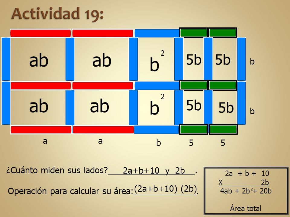 ab ab b b ab ab Actividad 19: 5b 5b 5b 5b b b a a b 5 5