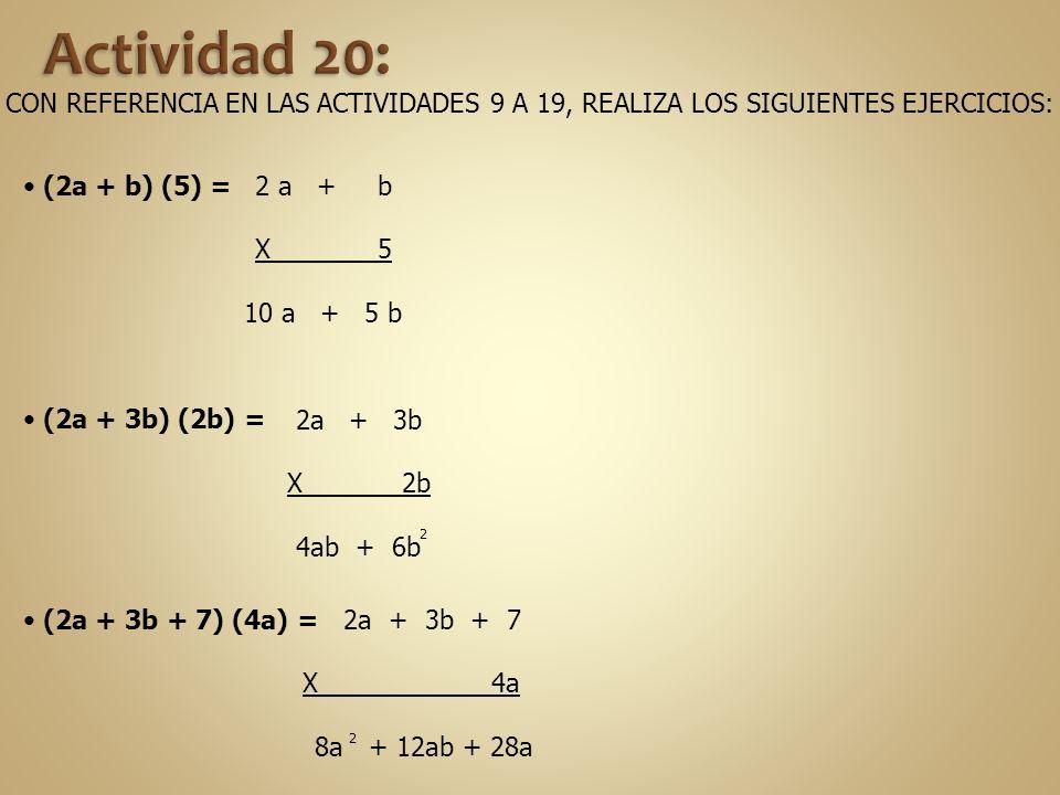 Actividad 20: CON REFERENCIA EN LAS ACTIVIDADES 9 A 19, REALIZA LOS SIGUIENTES EJERCICIOS: (2a + b) (5) =