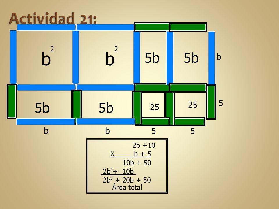 b b Actividad 21: 5b 5b 5b 5b b 5 25 25 b b 5 5 2 2 2b +10 X b + 5