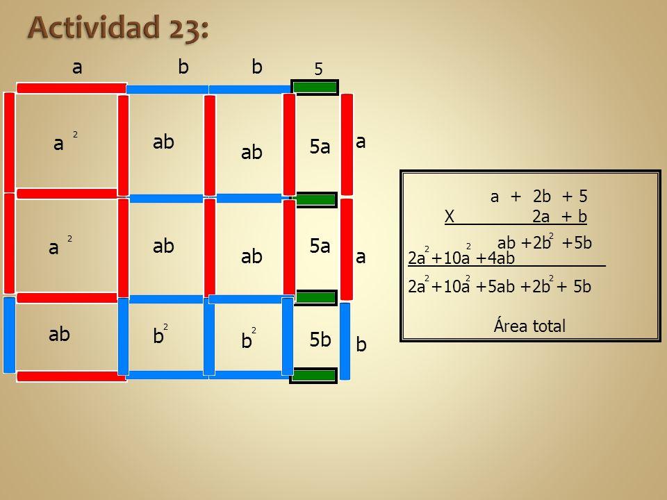 Actividad 23: a b b a ab a 5a ab a ab 5a ab a ab b b 5b b 5 a + 2b + 5