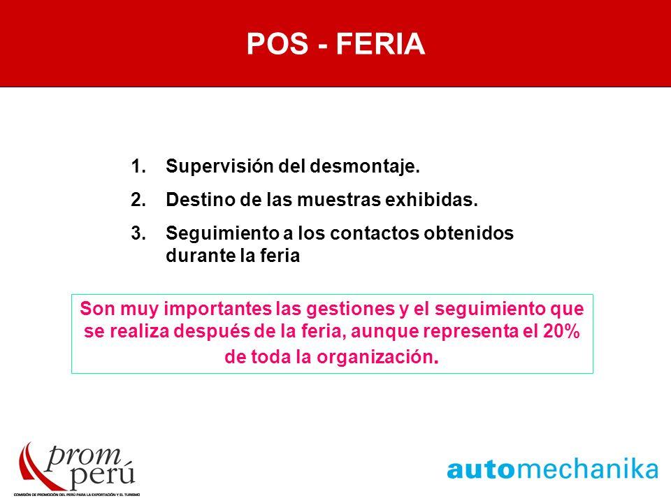 POST FERIA POS - FERIA Supervisión del desmontaje.