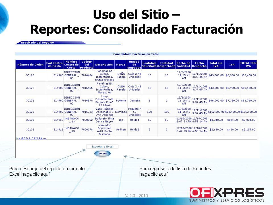 Uso del Sitio – Reportes: Consolidado Facturación