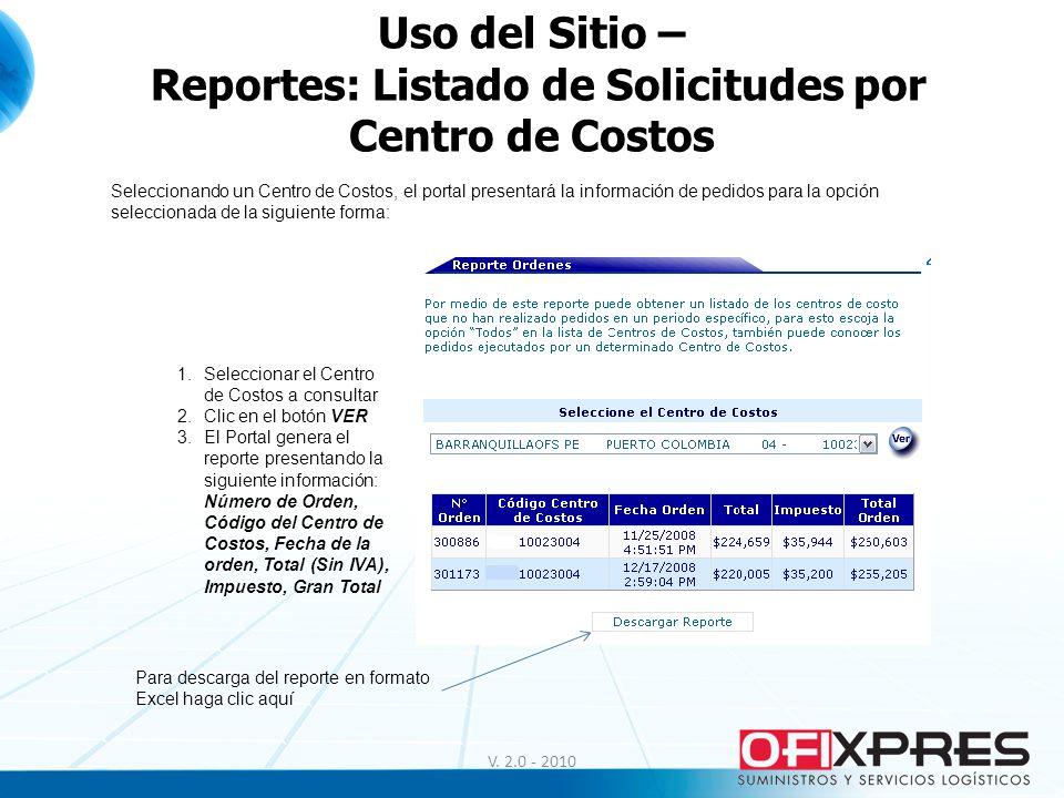 Uso del Sitio – Reportes: Listado de Solicitudes por Centro de Costos