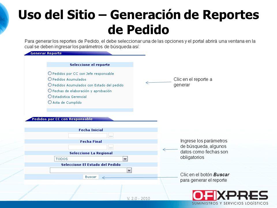 Uso del Sitio – Generación de Reportes de Pedido