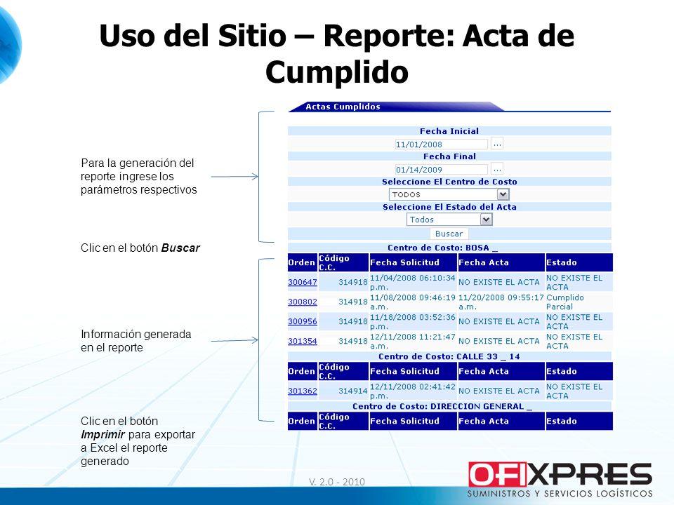 Uso del Sitio – Reporte: Acta de Cumplido