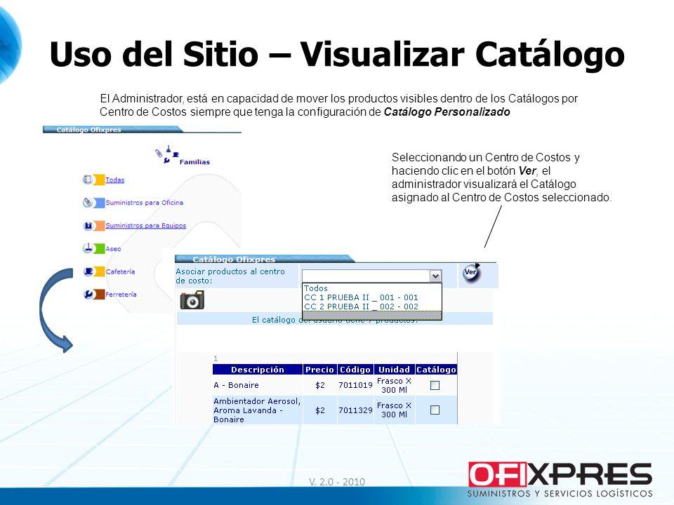 Uso del Sitio – Visualizar Catálogo