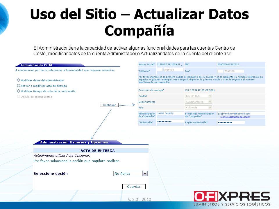 Uso del Sitio – Actualizar Datos Compañía