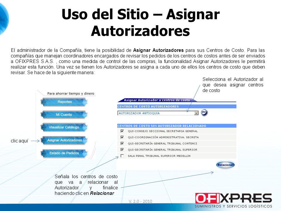 Uso del Sitio – Asignar Autorizadores
