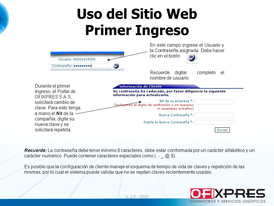 Uso del Sitio Web Primer Ingreso