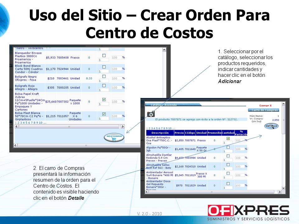 Uso del Sitio – Crear Orden Para Centro de Costos