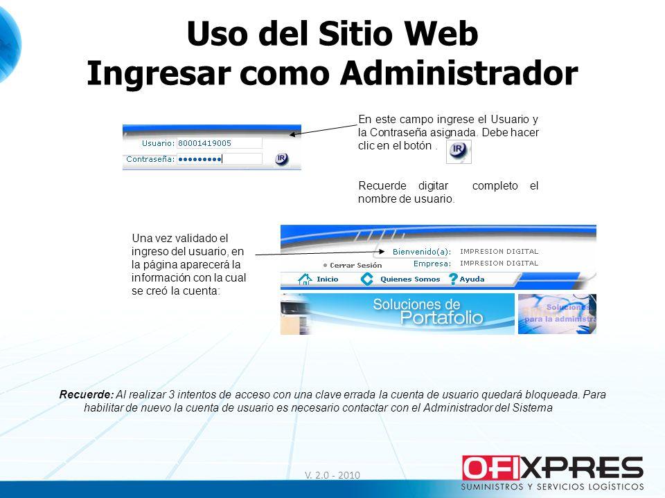 Uso del Sitio Web Ingresar como Administrador