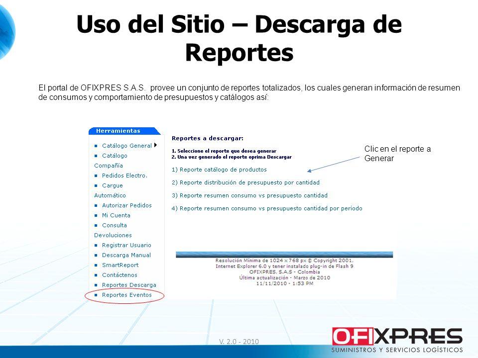Uso del Sitio – Descarga de Reportes