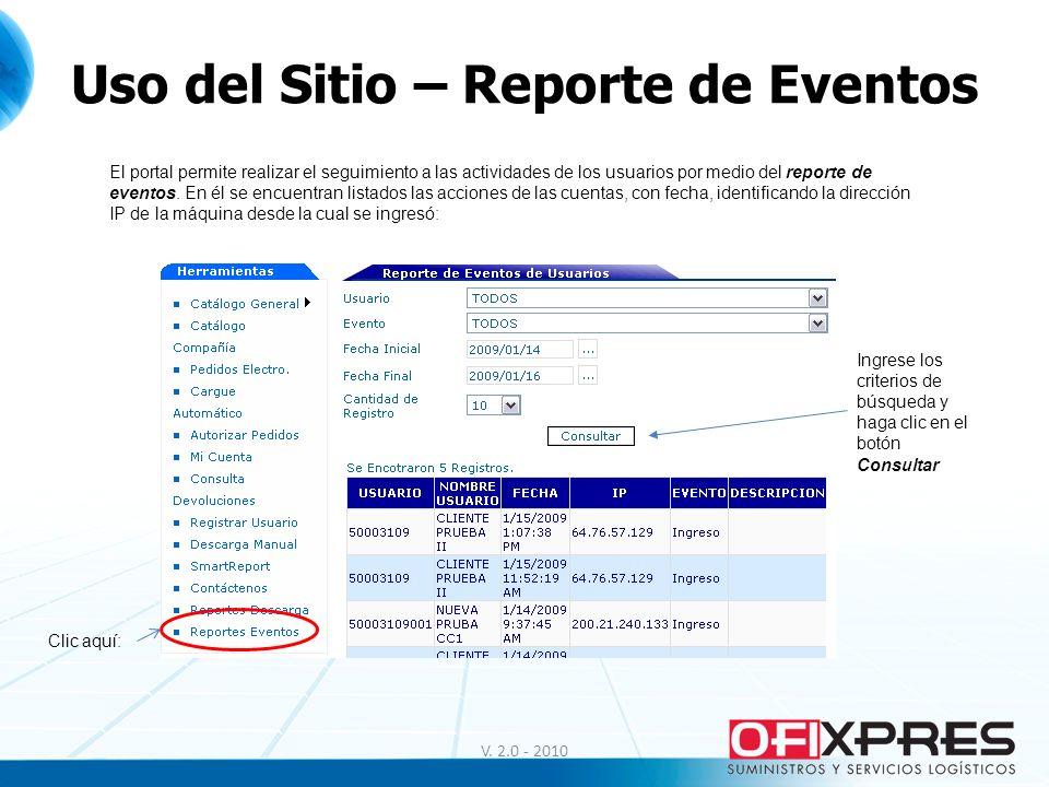 Uso del Sitio – Reporte de Eventos