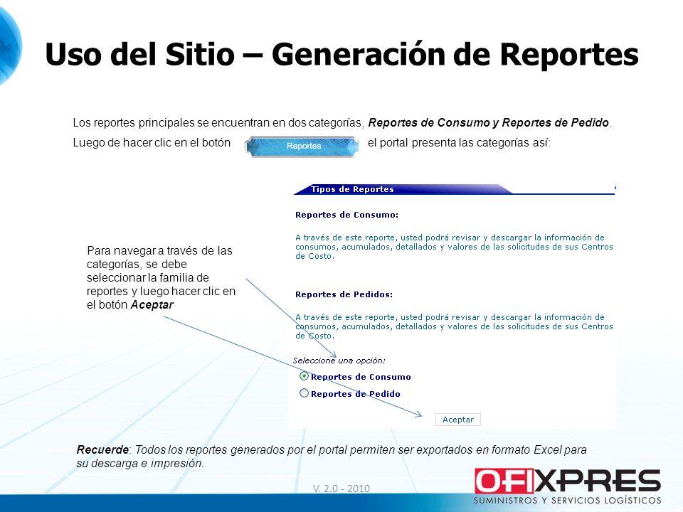 Uso del Sitio – Generación de Reportes