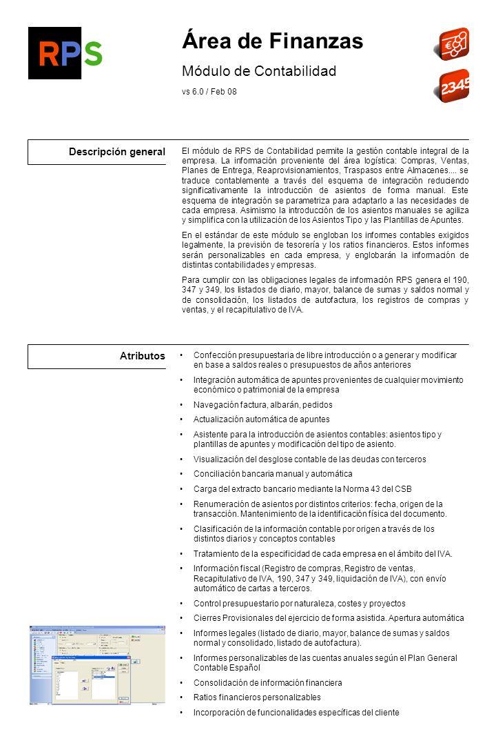Área de Finanzas Módulo de Contabilidad Descripción general Atributos
