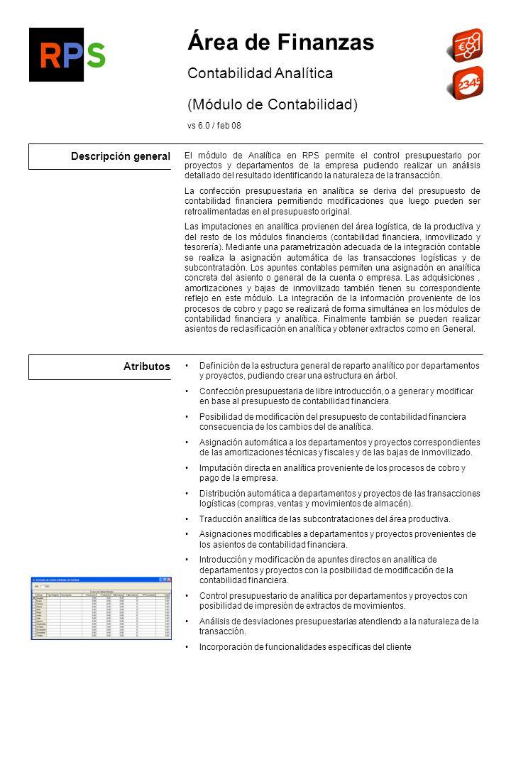 Área de Finanzas Contabilidad Analítica (Módulo de Contabilidad)