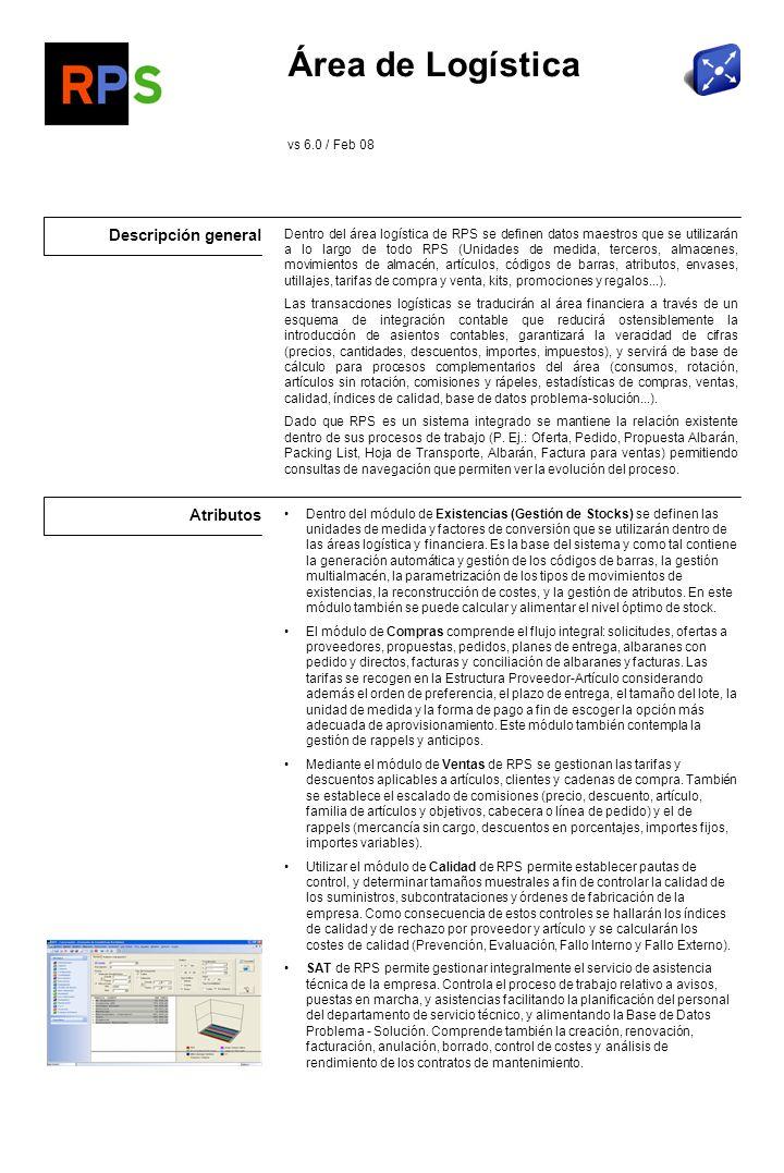Área de Logística Descripción general Atributos vs 6.0 / Feb 08