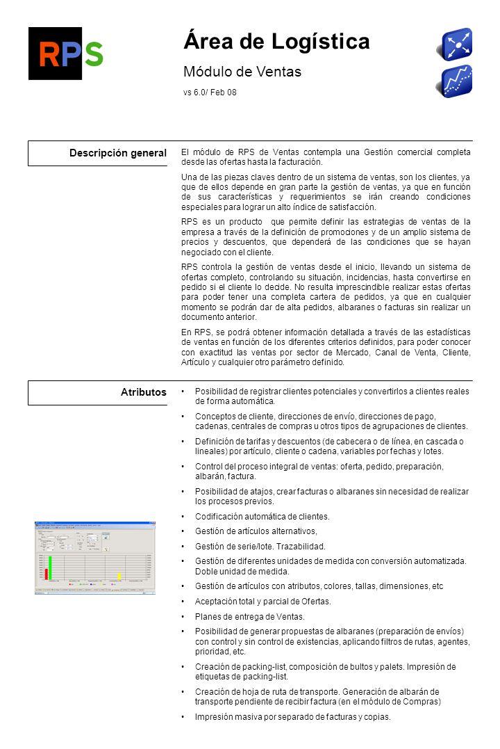 Área de Logística Módulo de Ventas Descripción general Atributos