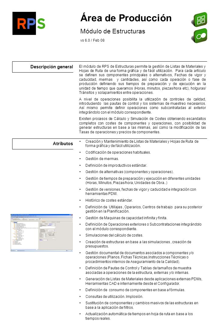 Área de Producción Módulo de Estructuras Descripción general Atributos