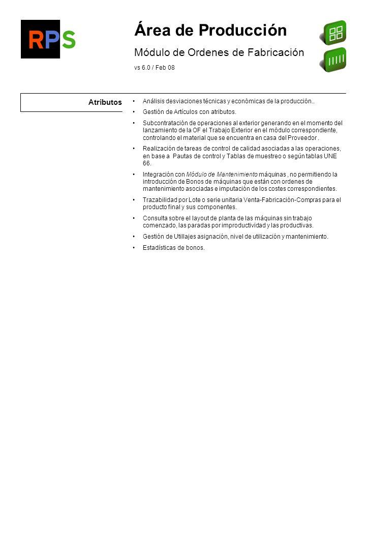 Área de Producción Módulo de Ordenes de Fabricación Atributos