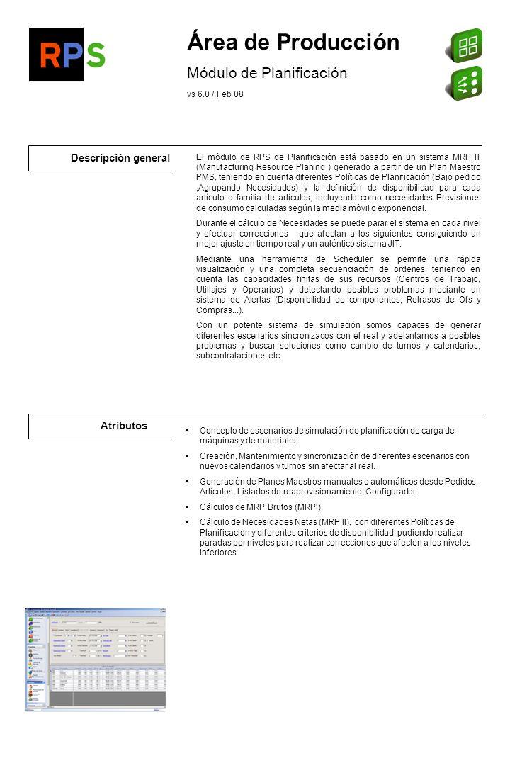 Área de Producción Módulo de Planificación Descripción general