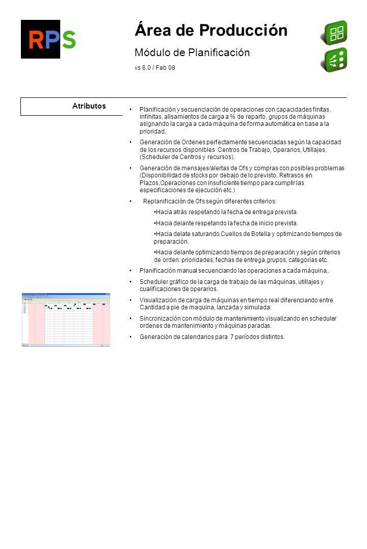 Área de Producción Módulo de Planificación Atributos vs 6.0 / Feb 08