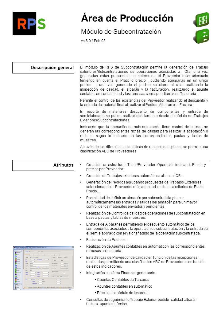 Área de Producción Módulo de Subcontratación Descripción general