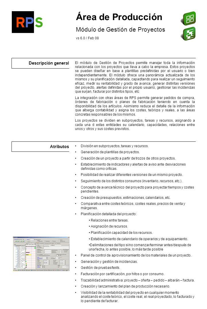 Área de Producción Módulo de Gestión de Proyectos Descripción general