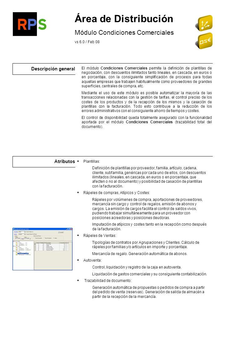 Área de Distribución Módulo Condiciones Comerciales