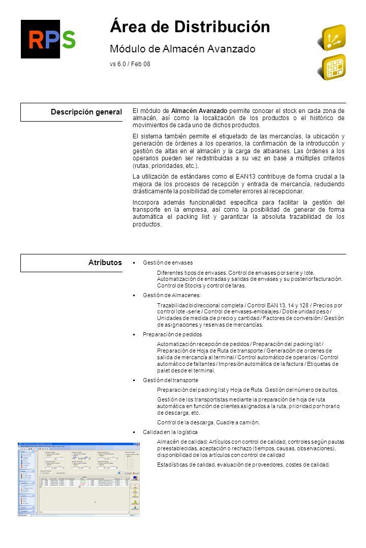 Área de Distribución Módulo de Almacén Avanzado Descripción general