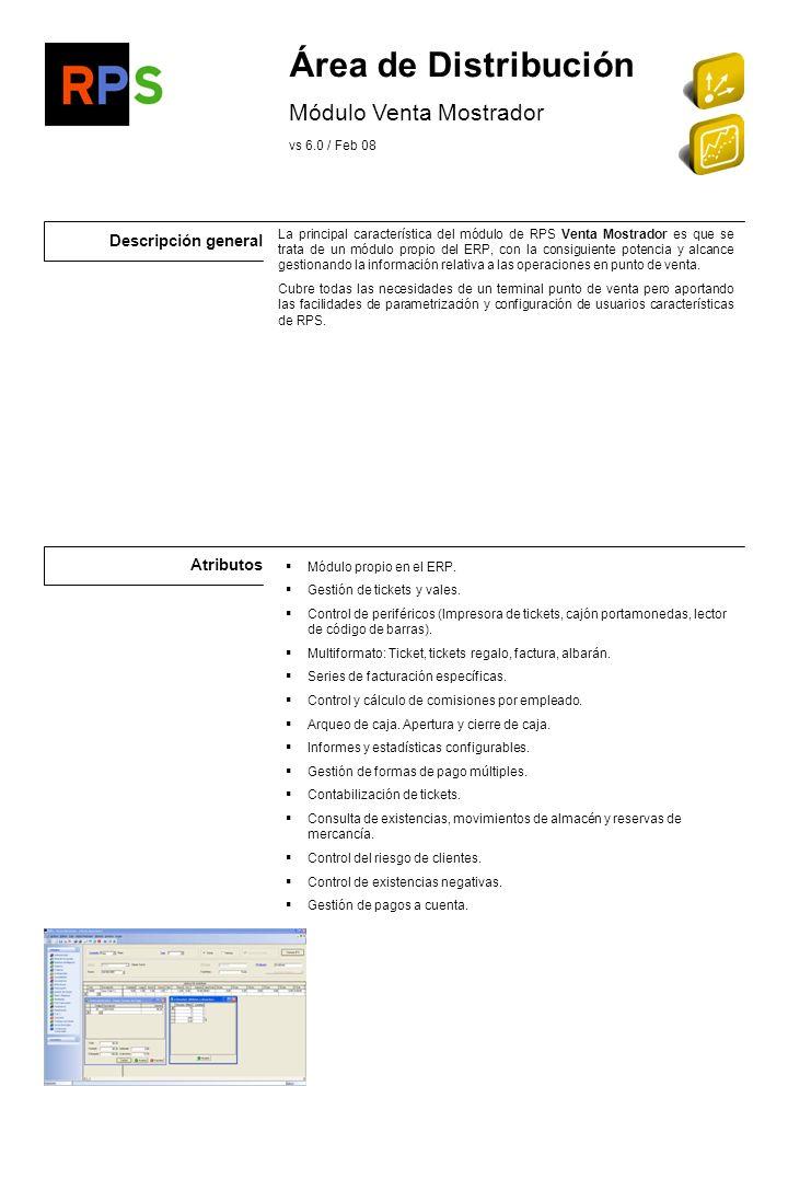 Área de Distribución Módulo Venta Mostrador Descripción general
