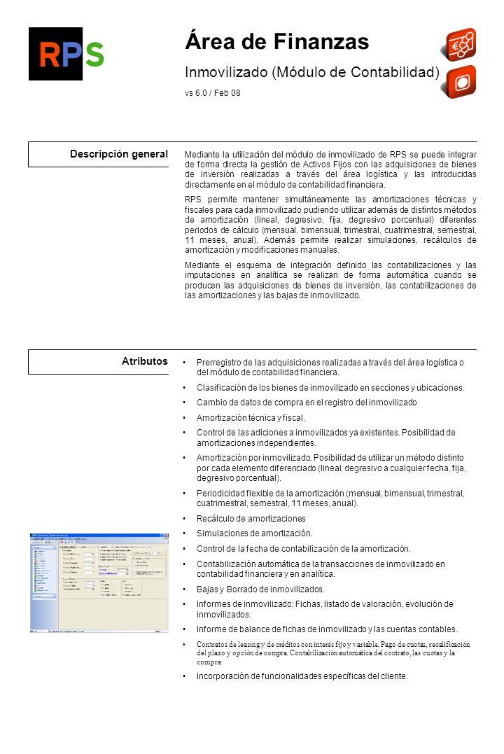 Área de Finanzas Inmovilizado (Módulo de Contabilidad)