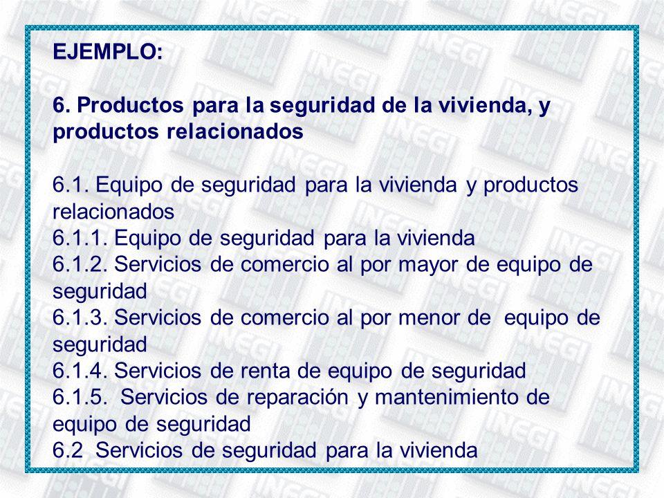 EJEMPLO: 6. Productos para la seguridad de la vivienda, y productos relacionados. 6.1. Equipo de seguridad para la vivienda y productos relacionados.