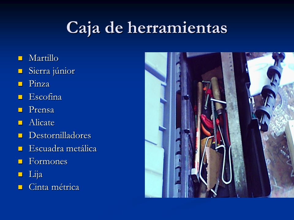 Caja de herramientas Martillo Sierra júnior Pinza Escofina Prensa