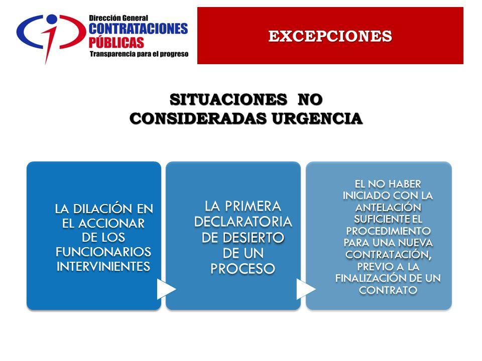 SITUACIONES NO CONSIDERADAS URGENCIA