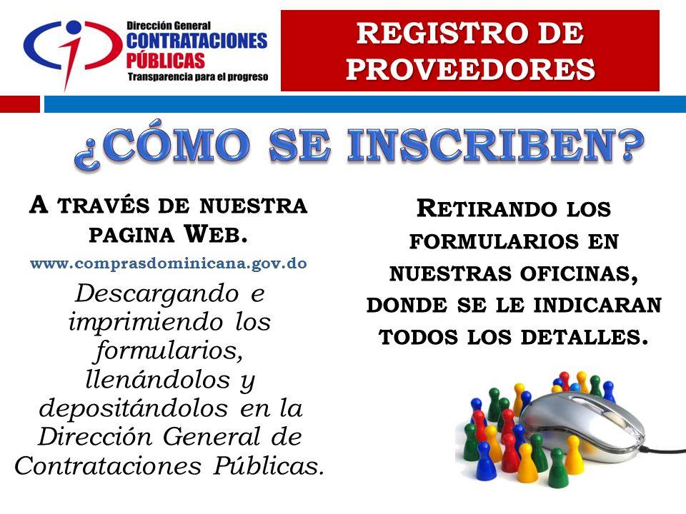 REGISTRO DE PROVEEDORES A través de nuestra pagina Web.