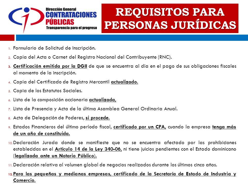 REQUISITOS PARA PERSONAS JURÍDICAS
