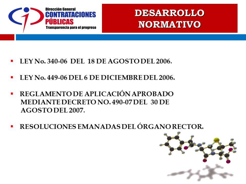 DESARROLLO NORMATIVO LEY No. 340-06 DEL 18 DE AGOSTO DEL 2006.