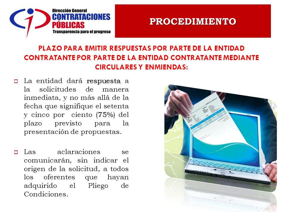 PROCEDIMIENTO Plazo para emitir respuestas por parte de la entidad contratante por parte de la entidad contratante mediante circulares y enmiendas: