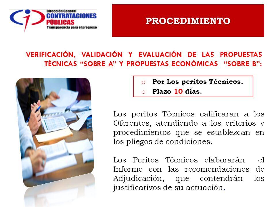 PROCEDIMIENTO Verificación, Validación y evaluación de las Propuestas Técnicas Sobre A y Propuestas Económicas Sobre B :