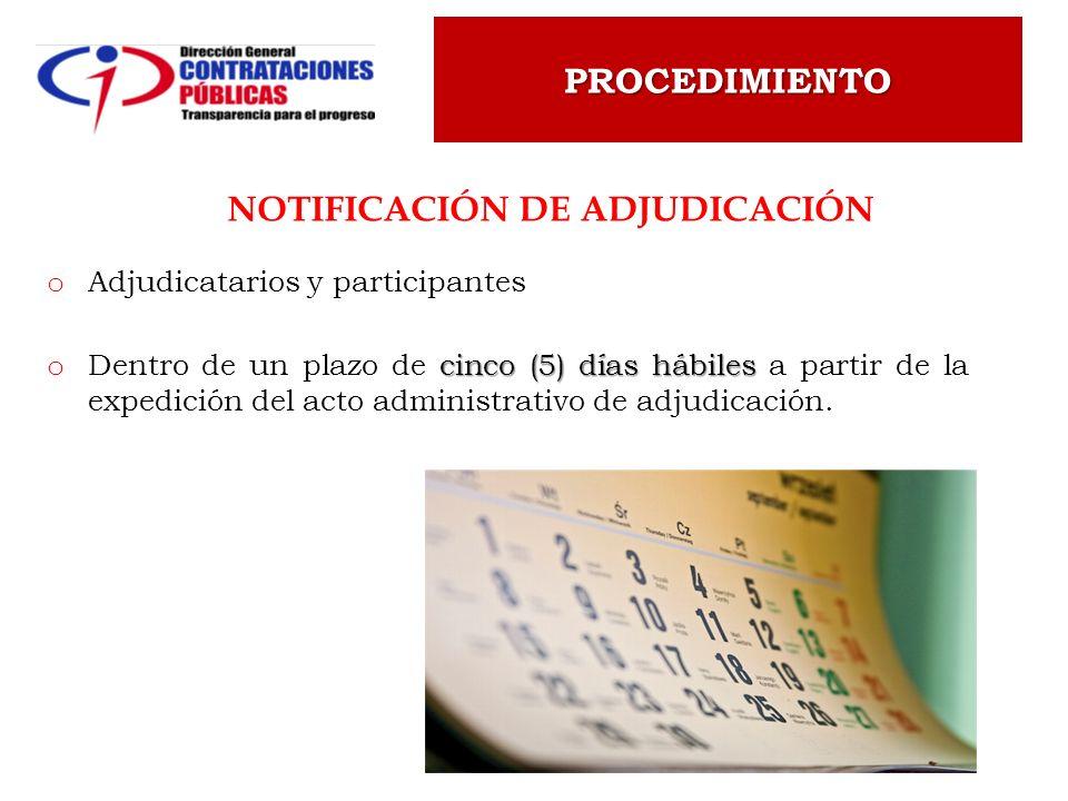 Notificación de Adjudicación