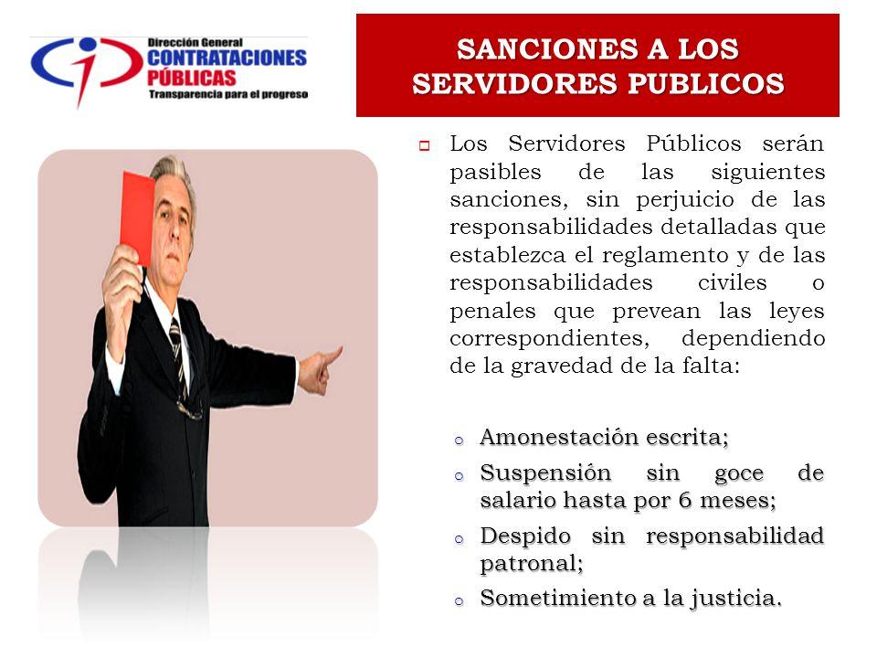 SANCIONES A LOS SERVIDORES PUBLICOS