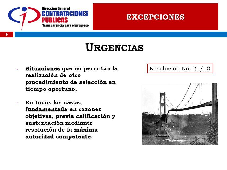 Urgencias EXCEPCIONES