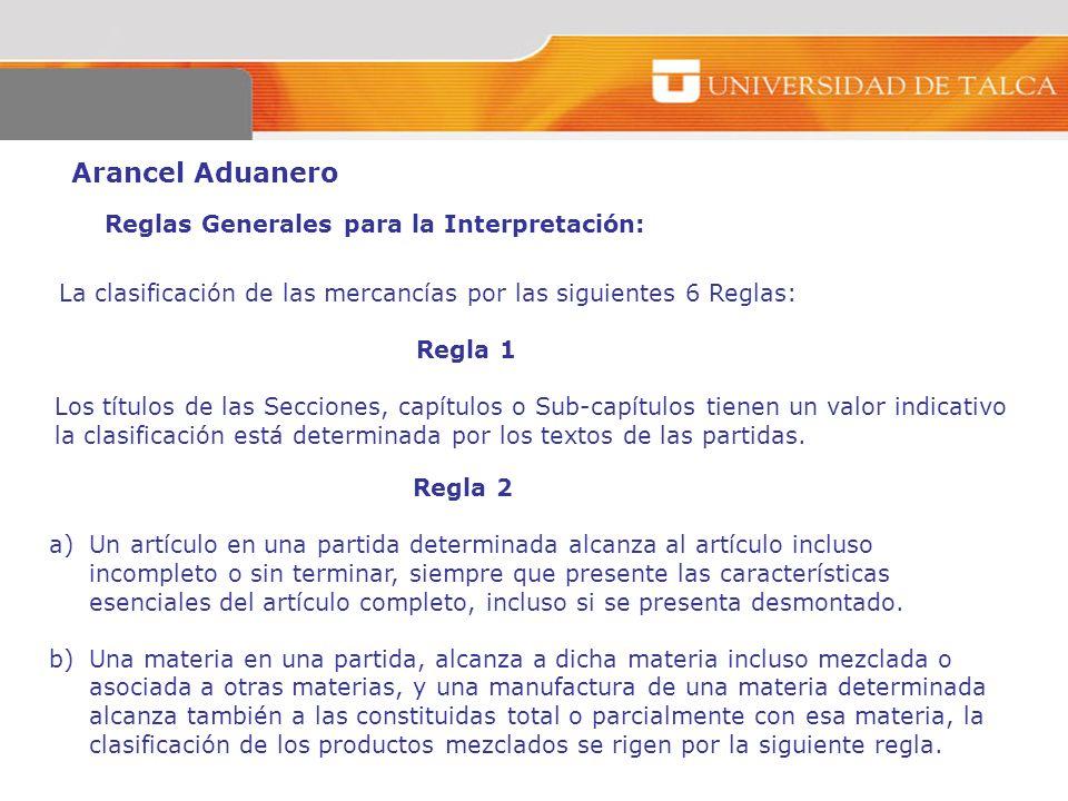 Arancel Aduanero Reglas Generales para la Interpretación: