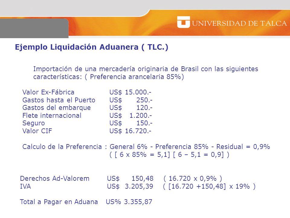 Ejemplo Liquidación Aduanera ( TLC.)