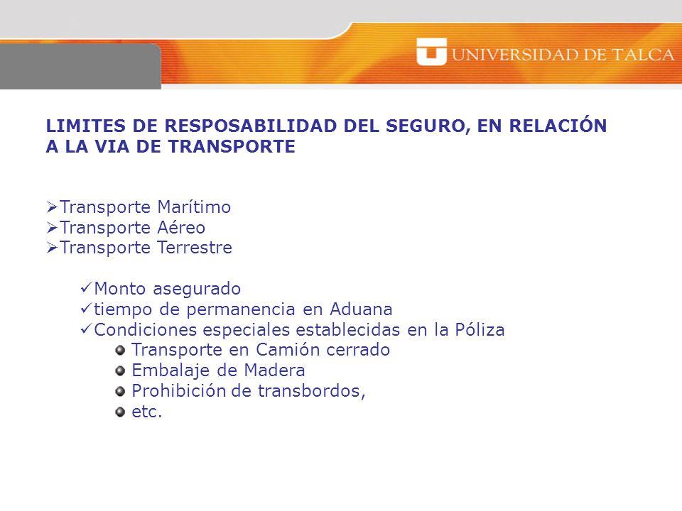 LIMITES DE RESPOSABILIDAD DEL SEGURO, EN RELACIÓN