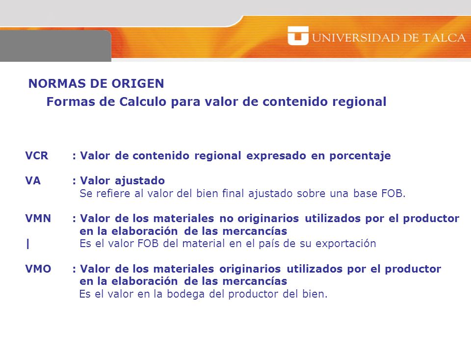 Formas de Calculo para valor de contenido regional