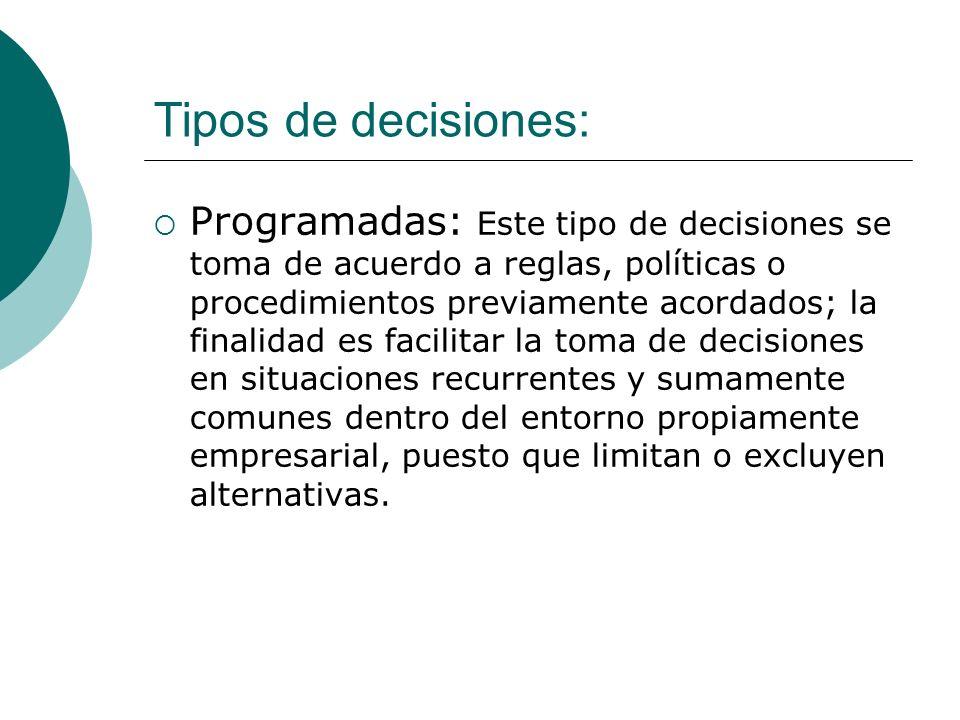 Tipos de decisiones: